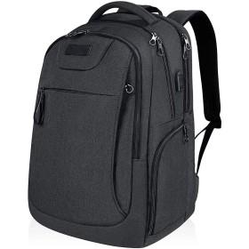 USBポートは、男の子と女の子のための炭カジュアルバックパックを充電して15.6 17.3インチのコンピュータのバックパックのために大規模な多機能リュックサック、アンチ盗難大トラベルナップザック、 (Color : ブラック)