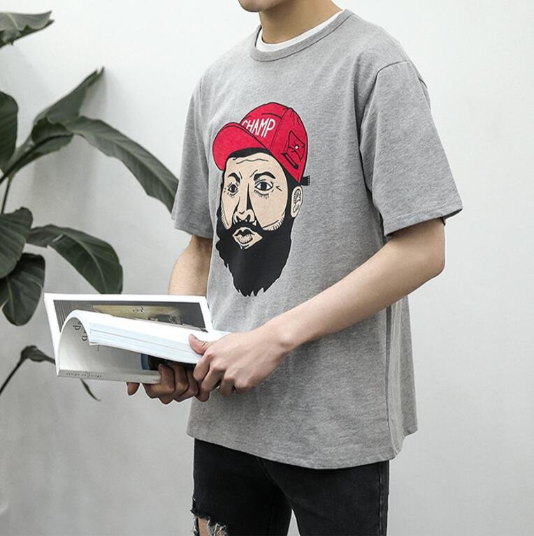FINDSENSE 時尚潮流 男 日系 休閒 寬鬆 嘻哈人頭印花 短袖T恤 特色T恤