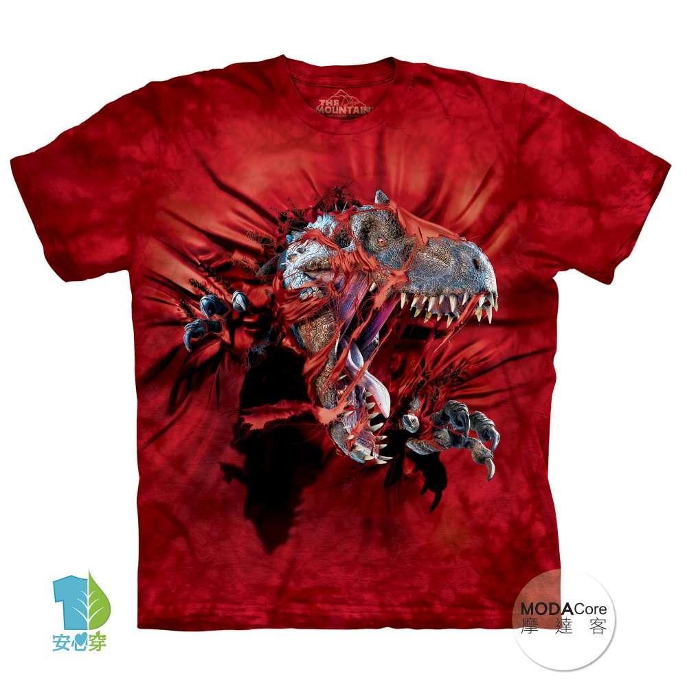 【摩達客】(預購) 美國進口The Mountain 凶猛雷克斯龍 純棉環保短袖T恤