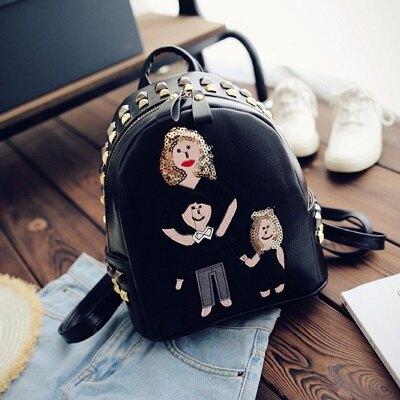 ★後背包-繡花雙肩包可愛家庭成員流行女包包2色73fd7【獨家進口】【米蘭精品】