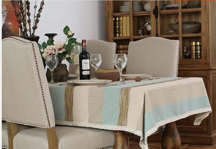 藍色細條紋布藝繡線工藝桌布台布餐桌布蓋布茶幾布書桌