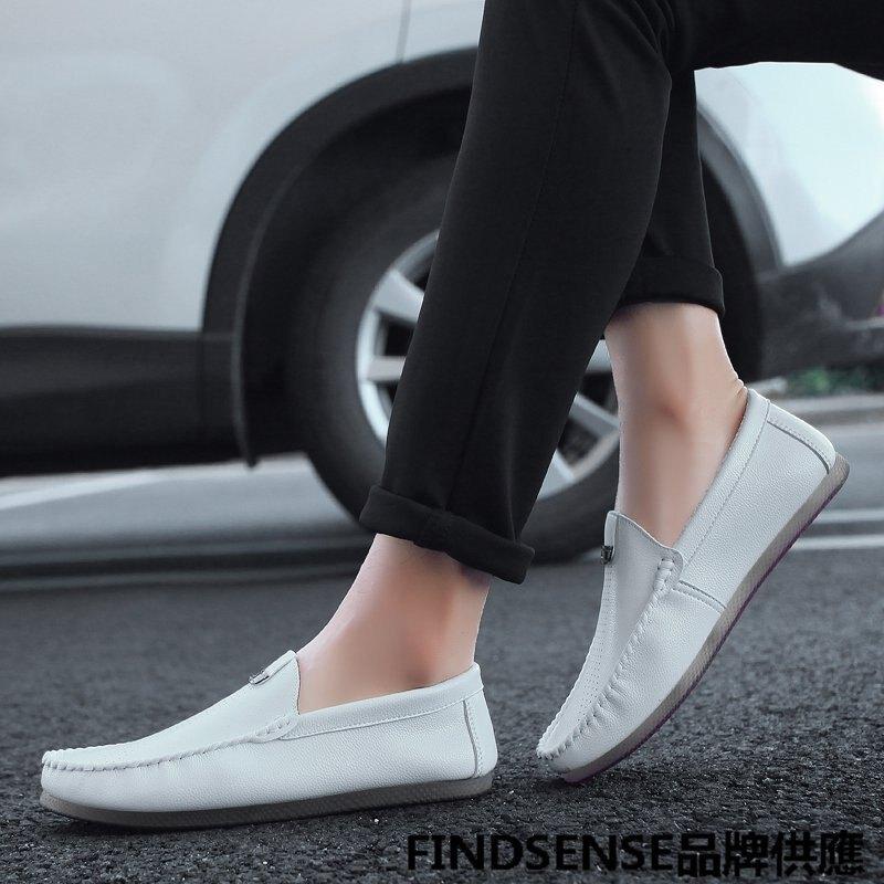 FINDSENSE品牌 四季款 新款 日本 男 高品質 個性 超纖 懶人一腳蹬 豆豆鞋 舒適 橡膠底 小皮鞋 潮流鞋子