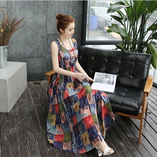 漂亮小媽咪 二件式水墨洋裝 【DS3809】 寬鬆 無袖 夏季薄款棉麻 含罩衫 孕婦洋裝 復古 孕婦裝