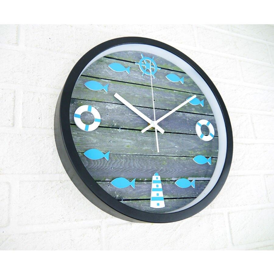 時鐘 地中海洋風格復古木板甲板造型立體靜音有框掛鐘 燈塔救生圈船舵小魚 居家民宿店面牆面設計裝飾掛畫創意時鐘