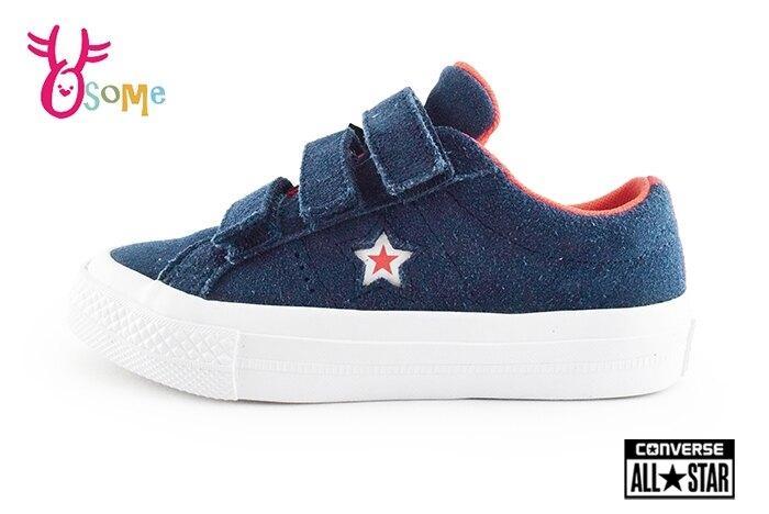 Converse 帆布鞋 中大童 One Star 麂皮 魔鬼氈 休閒鞋H9886#藍色 奧森 零碼出清