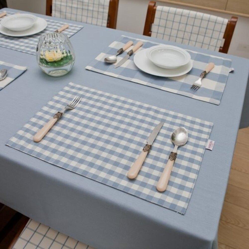簡約時尚地中海風餐墊 灰藍格子雙層 (四入)