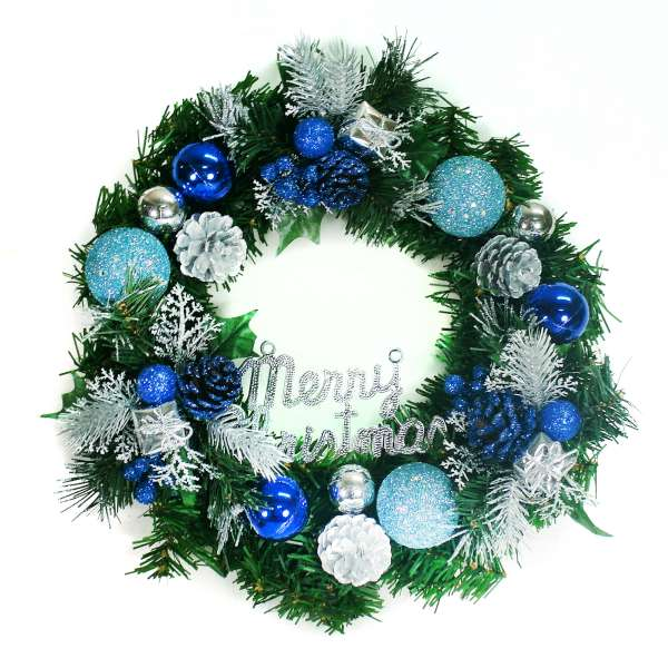 摩達客 14吋豪華高級綠色聖誕花圈(藍銀色系)(台灣手工組裝)(本島免運費)YS-GW14002