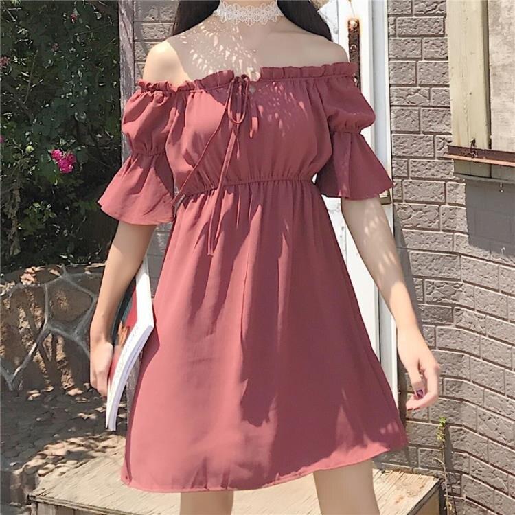 [超豐國際]夏季女裝韓范寬松顯瘦復古木耳邊一字領喇叭袖高腰連1入