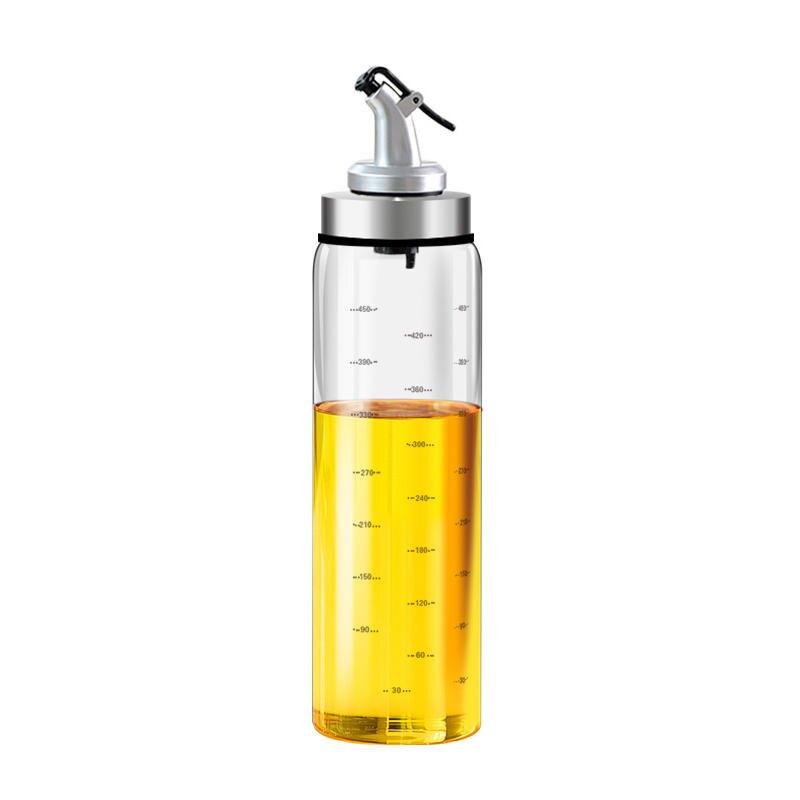 高硼矽玻璃按壓式刻度油壺 500ml 耐高溫密封防漏 油瓶 油罐 調味瓶 醬油瓶 香油瓶【ZA0305】《約翰家庭百貨