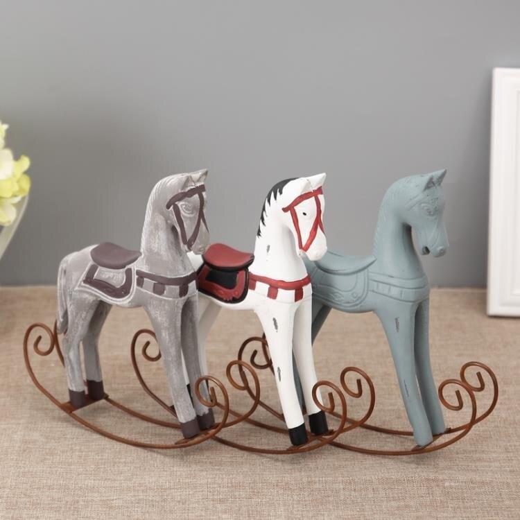 [超豐國際]木制小號搖馬酒柜裝飾品擺件 客廳櫥柜家居飾品 婚1入