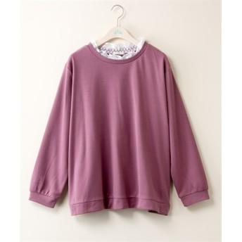 衿レースプルオーバー【bi abbey】 (大きいサイズレディース)plus size T-shirts, T恤