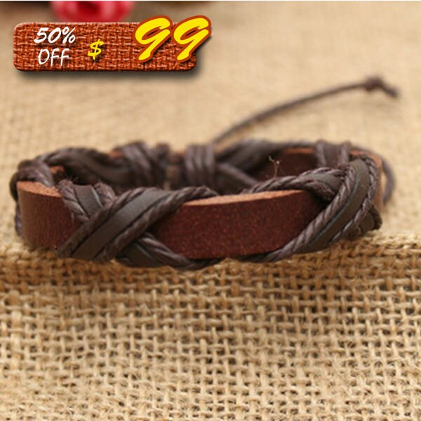 Mao 【5折超值價】韓版時尚手鏈工編織皮手鏈男女手鏈