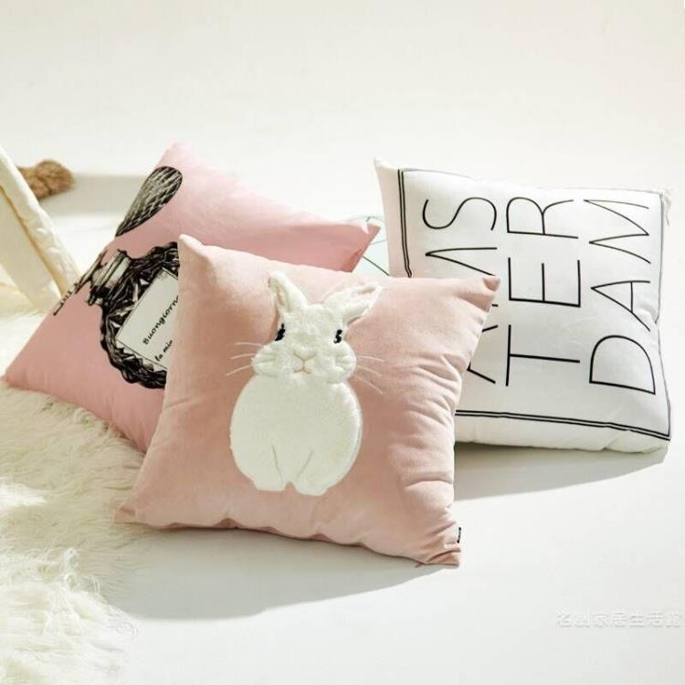 INS風少女心抱枕毛絨兔抱枕靠墊背沙發床頭靠枕北歐臥室客廳腰靠