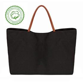 Ziqi 100%キャンバスバッグ 再利用可能 洗濯可能 トートバッグ クラフト装飾に最適 環境に優しい Lサイズ 折りたたみ式 高耐久 食料品買い物 ブラック