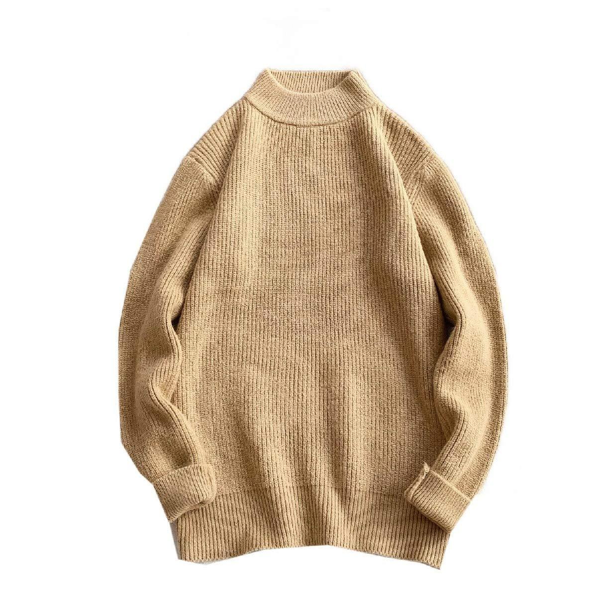 YUNY Men Pure Colour Turtleneck Pullover Plus Size Pullover Sweater Black 2XL