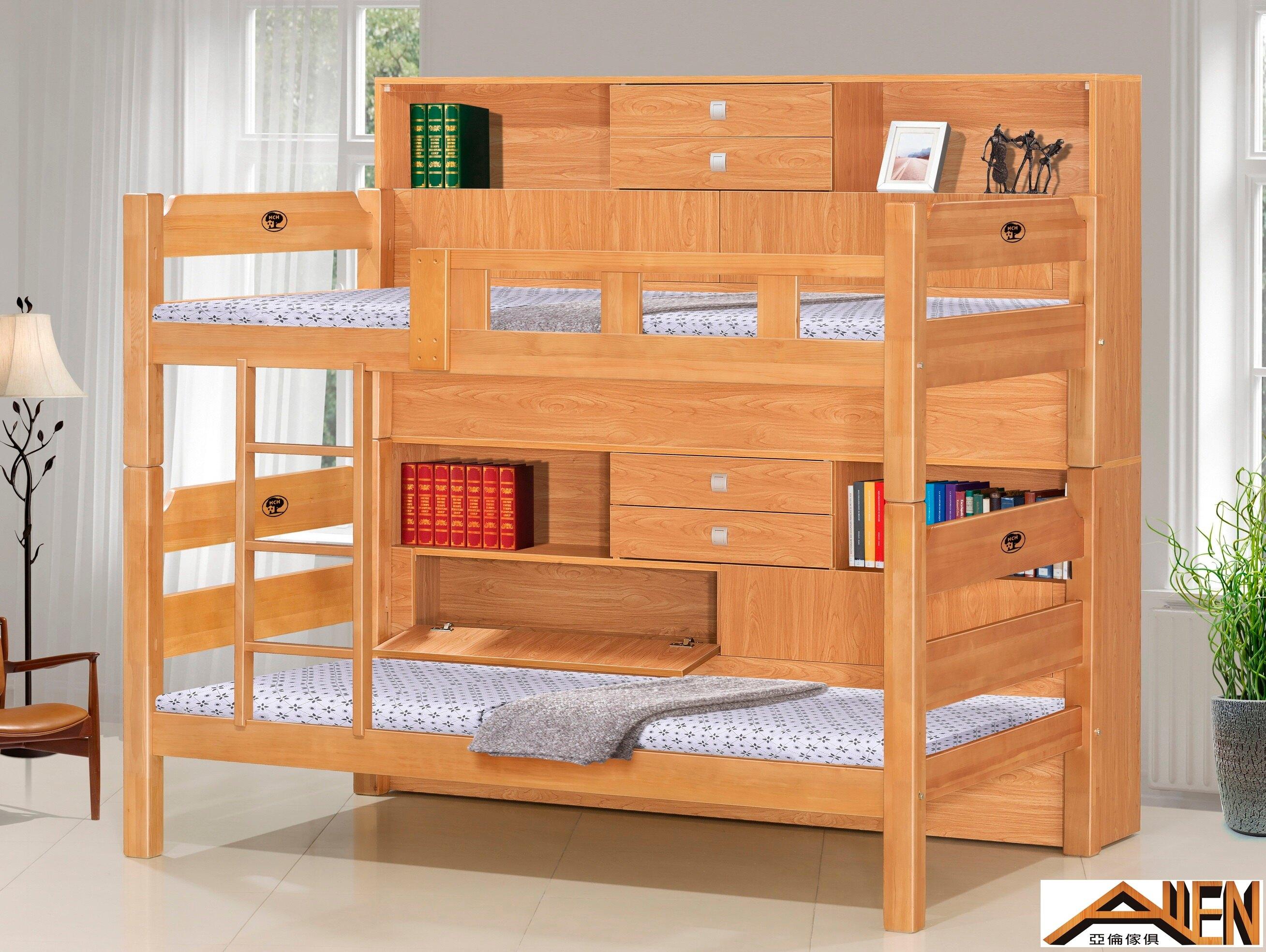 亞倫傢俱*布恩北美檜木實木床邊櫃收納雙層床