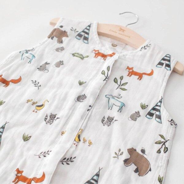 美國 Little Unicorn 雙層紗防踢背心 動物森林(0-6m) 附精美衣架