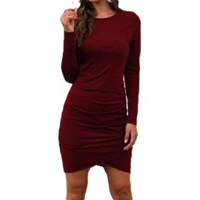 GodeyesW Women's Long-Sleeve High Low Sexy Fall Winter Solid Color Dress Top Wine Red L