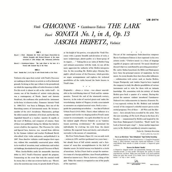 【停看聽音響唱片】【黑膠LP】雲雀 / 海飛茲(小提琴) (180g LP)