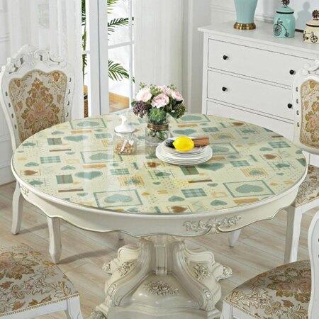 圓形桌布防水防油pvc透明板圓桌布圓桌桌墊水晶墊桌巾 清涼一夏特價
