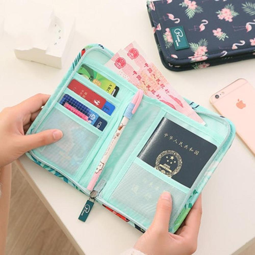 證件包韓版印花旅行護照包多功能韓國錢包大容量收納包機票夾護照證件包霓裳細軟 清涼一夏钜惠