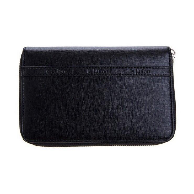 【le Lufon】 ㄇ型拉鏈十字紋皮革護照夾/證件夾/卡夾/零錢包/多功能萬用旅行夾-黑色(橘紅/黑/棕/紅共四色)