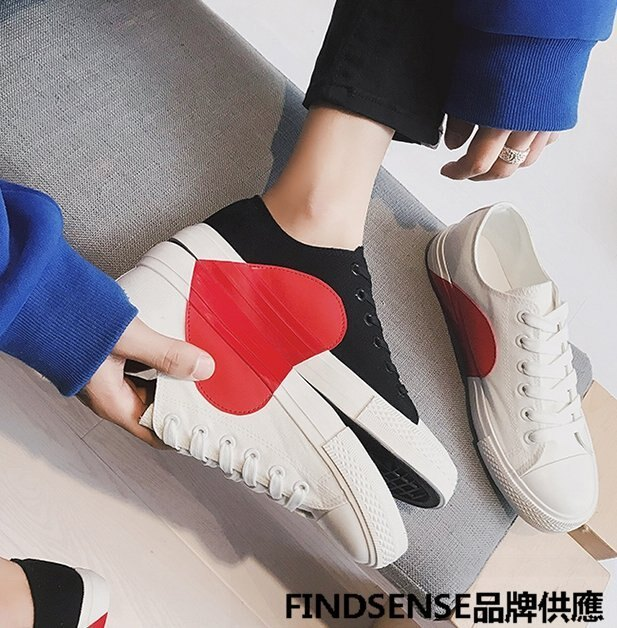 FINDSENSE品牌 四季款 新款 日本 情侶 高品質 愛心小白鞋  輕便運動  舒適透氣 休閒 低幫帆布鞋 潮流鞋子