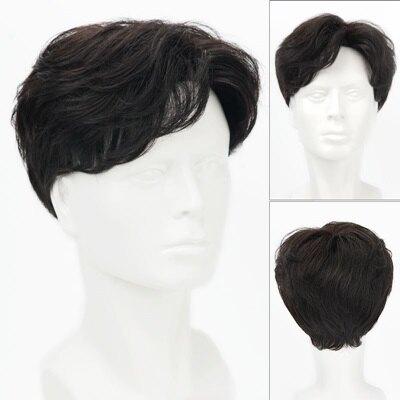 假髮片真髮絲-中分自然頭頂補髮男假髮3色73uf36【獨家進口】【米蘭精品】