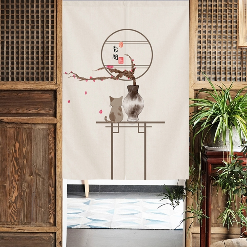 可愛時尚棉麻門簾E210 廚房半簾 咖啡簾 窗幔簾 穿杆簾 風水簾 (70寬*120cm高)