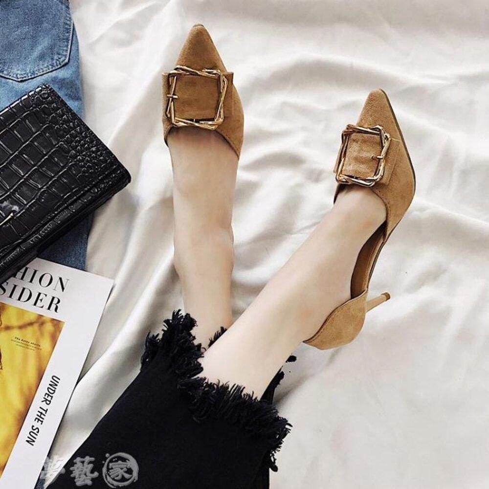高跟鞋  小清新高跟鞋女細跟新款春季少女百搭黑色尖頭鞋子網紅單鞋秋 夢藝家