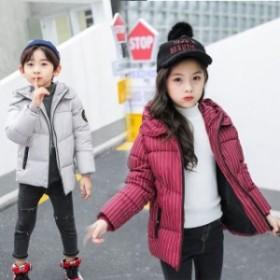 子供服 ストライプ 中綿コート フード付き 女の子 男の子 ジャケット キッズコート 冬着 子供 防寒コート かわいい キッズ服 ア