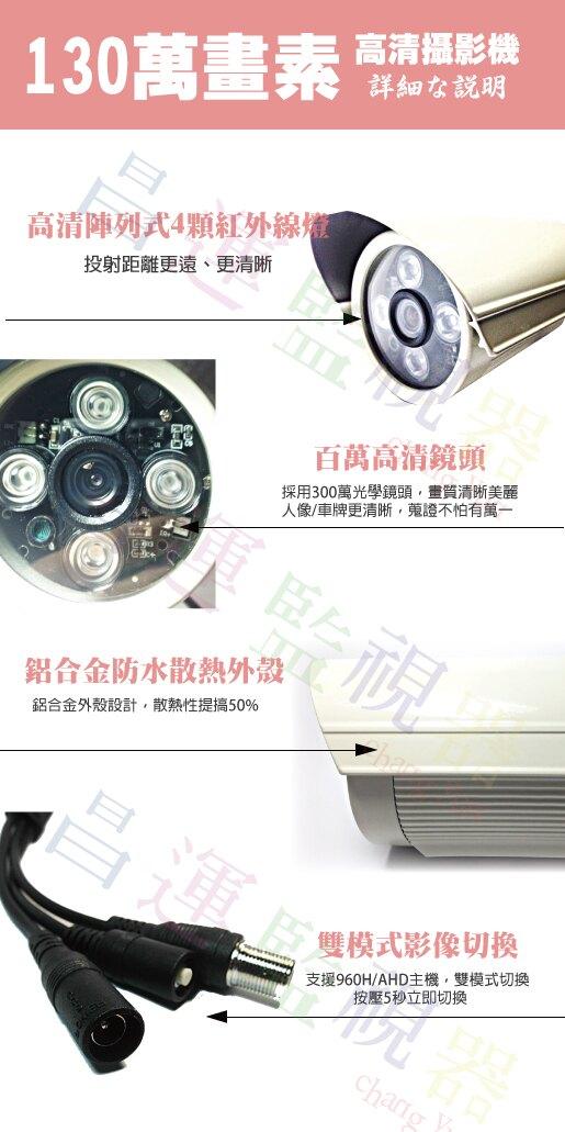 高雄監視器/百萬畫素1080P主機 AHD/到府安裝/16ch監視器/130萬管型攝影機720P*16支(標準安裝)