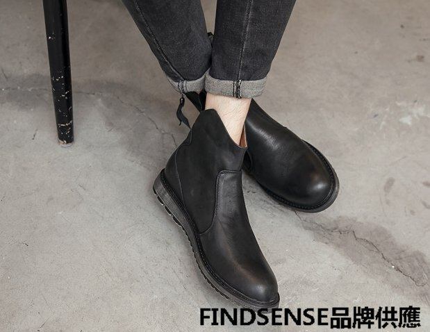 FINDSENSE品牌 四季款 新款 日本 男 高品質 真皮 工裝靴 做舊 拉鏈 高幫皮靴 舒適 增高 馬丁靴 潮流鞋子