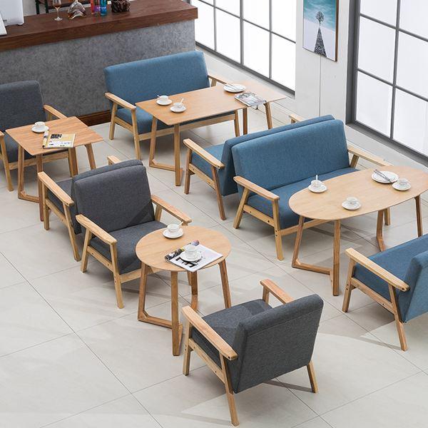 辦公室洽談桌椅組合簡約休閒雙人卡座甜品奶茶店西餐咖啡廳布沙發XW 雙12購物節