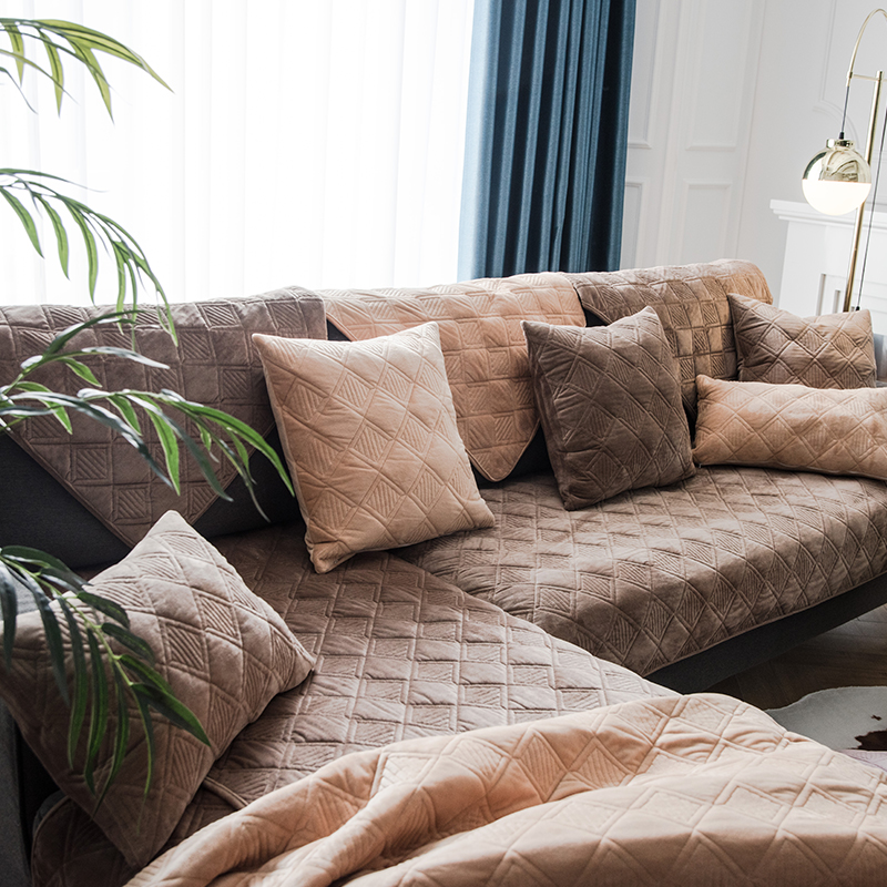 沙發墊【RS Home】抱枕套沙發墊沙發巾沙發罩床墊記憶枕床包床旁電視櫃墊客廳地墊 [爵格-深咖] AAE-AA-006