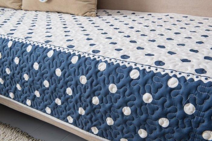 沙發墊【RS Home】抱枕套沙發墊沙發巾沙發罩床墊記憶枕床包床旁電視櫃墊客廳地墊 [藍白圓點]