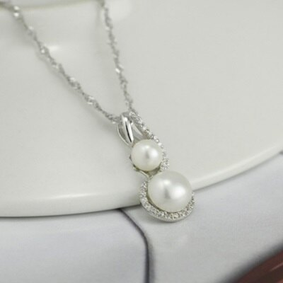925純銀項鍊 珍珠吊墜-精緻鑲鑽優雅時尚情人節生日禮物女飾品73dh3【獨家進口】【米蘭精品】