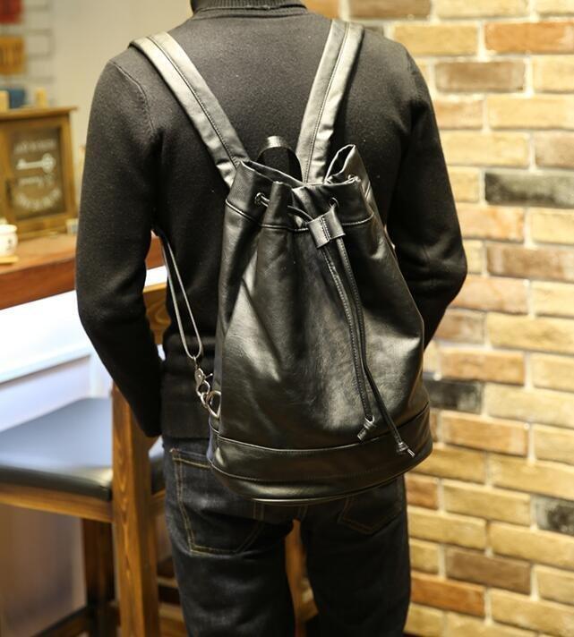 FINDSENSE Z1 韓國 時尚 潮 男 皮質 休閒 束口 旅行包 學生包 書包 後背包 雙肩包 戶外 旅行包