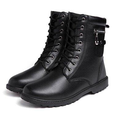 馬丁靴 高幫皮鞋男式潮流馬丁靴英倫防水短靴金屬軍靴復古高筒棉靴男 全館八八折