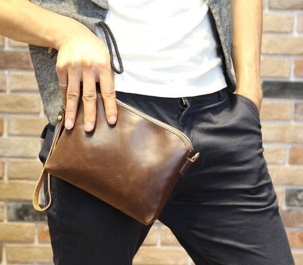 FINDSENSE Z1 韓國 時尚 潮 男 皮質 複古 小包 手拿包 皮夾包 公事包 側背包