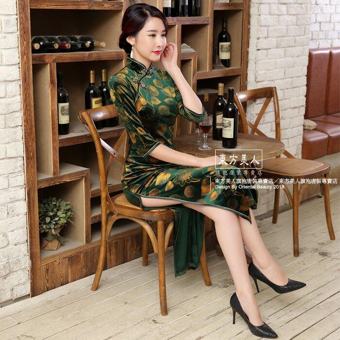 東方美人旗袍唐裝專賣店 幽靜(綠)。彈力金絲絨中國風改良式時尚印花七分袖長旗袍
