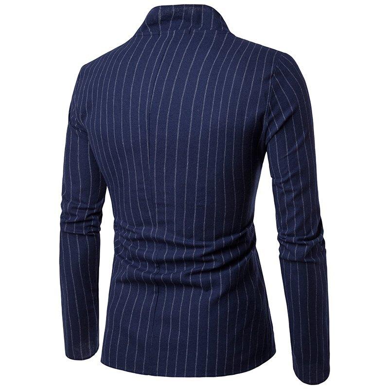 FINDSENSE Z1 韓國 時尚 潮 男 翻領 兩粒扣 時尚豎條紋 休閒外套 西裝外套