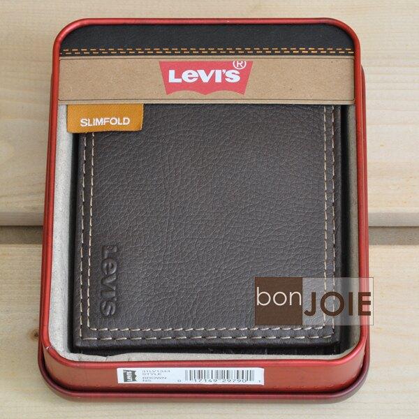 ::bonJOIE:: 美國進口 新款鐵盒裝 Levi's 左右翻透明窗皮夾 (咖啡色) Levis 三折式 短夾 實物拍攝
