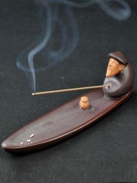 香爐 器無形 仿古香托陶瓷漁翁香薰爐創意香插 香道香座配件檀香線香爐 領券下定更優惠