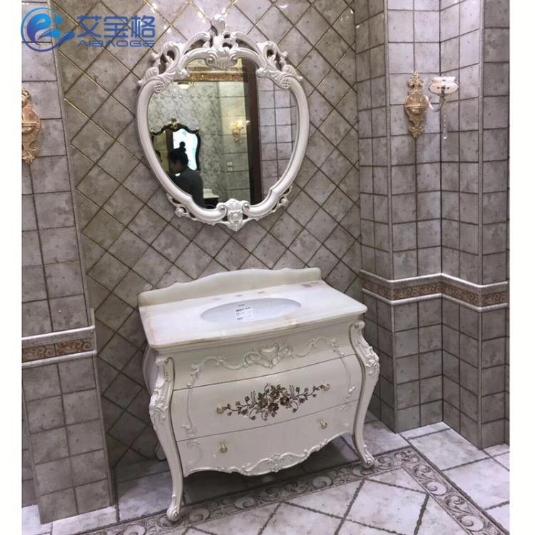 仿古歐式衛生間洗臉盆衛浴櫃橡木組合實木浴室櫃落地櫃洗手臺盆