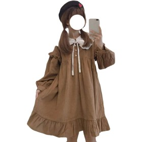 AOZUOレディース ワンピース Aライン チュール フレアワンピース ロリータ 着痩せ 可愛い 活動 パーディー 結婚式 森ガール お嬢様 ワンピースカーキ