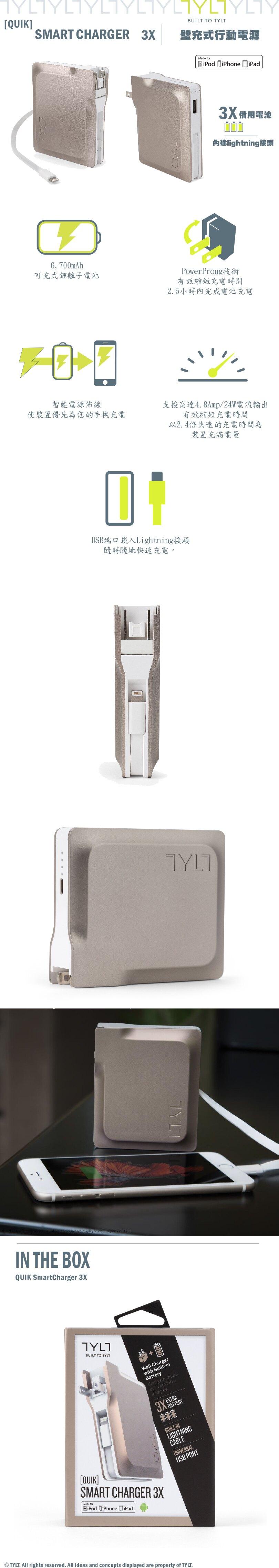 預購TYLT 3X 壁充式 6700mAh 行動電源 2合1 充電器 [強強滾]
