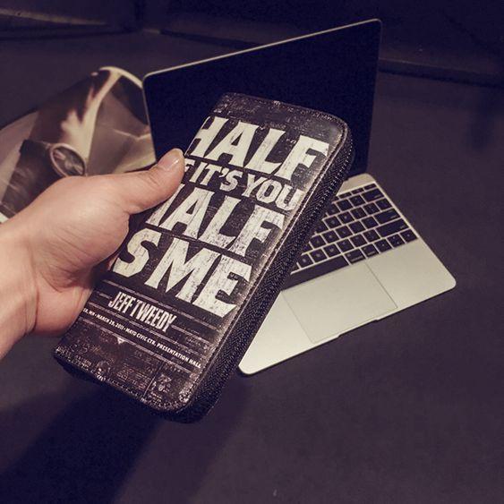 錢夾時尚男女個性錢包街頭潮流個性中長款錢包休閒撞色手機包