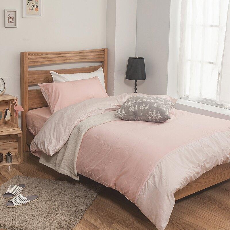 床包 / 單人-100%精梳棉【雙色系列 - 雙色粉】含一件枕套 戀家小舖  台灣製