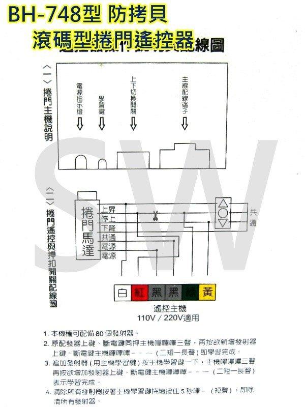 BH-748電動鐵捲門遙控器 基本款可換各廠牌 鐵卷門搖控器 防盜拷防掃描 捲門馬達 滾碼發射器 電動門遙控器 快速捲門